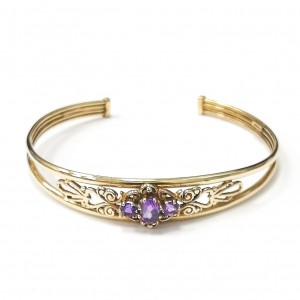 9ct Gold Fancy Amethyst Bangle