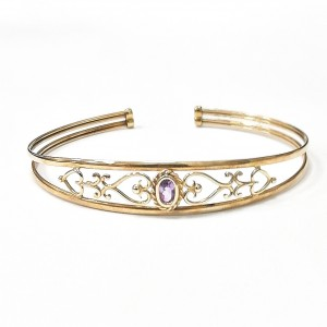 9ct Gold Amethyst & Heart Design Bangle