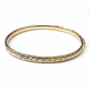 9ct Gold Diamond Cut Bangle