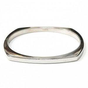 9ct White Gold Hinged Bangle