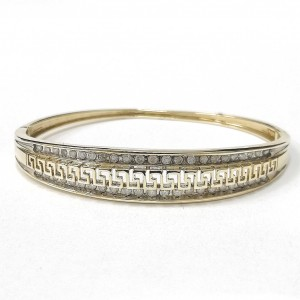 9ct Gold Diamond Greek Key Bangle